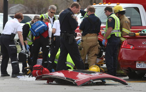 Rick Egan  | The Salt Lake TribuneA woman was injured, possibly critically, on Friday making a left-hand turn onto Redwood Road in West Jordan. Shortly before noon, the woman turned to go north onto Redwood Road (1700 West) from 7600 South when a southbound vehicle crashed into   her, said West Jordan Police Sgt. Dan Roberts. Details of the crash remained scarce Friday afternoon, but the woman was flown to Intermountain Medical Center with possibly critical injuries, while the driver of the second vehicle was taken in ambulance to another hospital, Roberts said.