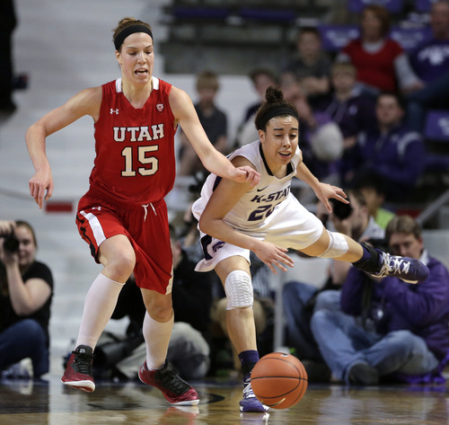 Utah forward Michelle Plouffe (15) and Kansas State guard Brianna Craig (20) chase a loose ball during the first half of a women's NIT college basketball semifinal, Wednesday, April 3, 2013, in Manhattan, Kan. (AP Photo/Charlie Riedel)