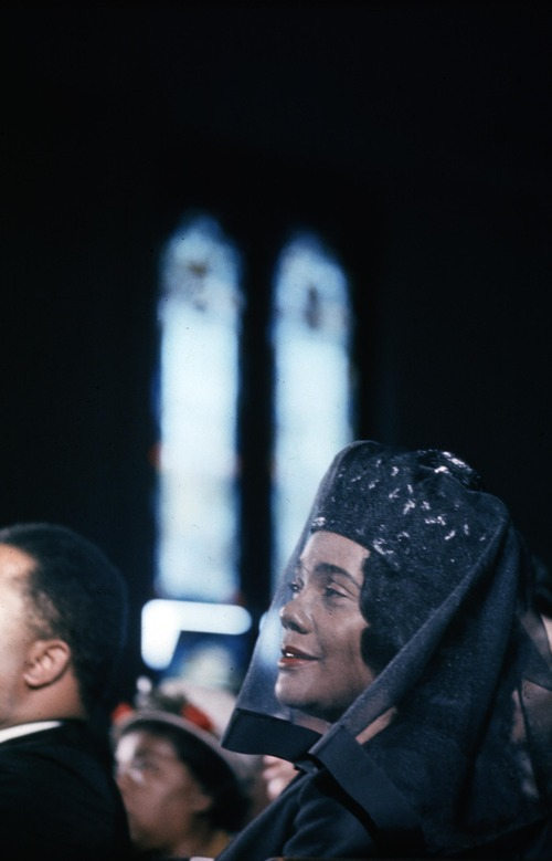 Coretta Scott King attends the funeral of her husband, civil rights leader Dr. Martin Luther King Jr., at the Ebenezer Baptist Church in Atlanta, Ga.,  April 9, 1968.  The civil rights leader was standing on the balcony of the Lorraine Motel when he was killed by a rifle bullet on April 4, 1968. James Earl Ray pleaded guilty to the killing and was sentenced to 99 years in prison. He died in prison in 1998.(AP Photo)