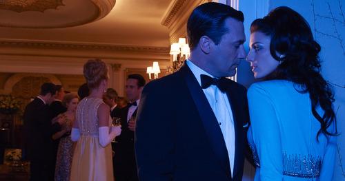 "Courtesy photo Jon Hamm as Don Draper and Jessica Pare as Megan Draper in ""Mad Men."""
