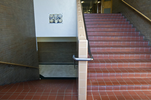 Chris Detrick  |  The Salt Lake Tribune A stairwell at Olympus High School Friday March 29, 2013.