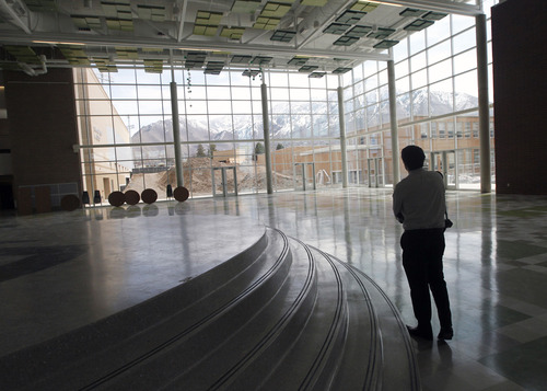 Al Hartmann  |  The Salt Lake Tribune Commons area of the new Olympus High School has a view of Mount Olympus to the east.