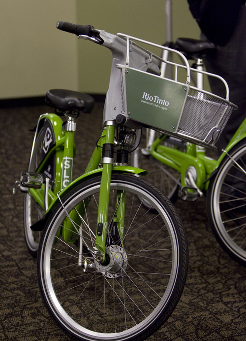 Kim Raff     The Salt Lake Tribune A new GREENbike is displayed during the launch event for the GREENbike SLC bicycle-sharing project at the Wells Fargo building in Salt Lake City on Monday April 8, 2013. The program is a partnership between Salt Lake City, the Downtown Alliance, the Salt Lake Chamber and SelectHealth. The program will start with 100 GREENbikes and 10 stations around downtown.