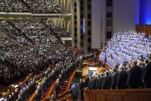 Chris Detrick  |  The Salt Lake Tribune Members of the Mormon Tabernacle Choir perform during the morning session of the 183rd Semiannual General Conference of The Church of Jesus Christ of Latter-day Saints Saturday April 6, 2013.