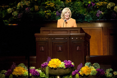 Chris Detrick     The Salt Lake Tribune Elaine S. Dalton, Young Women General President, speaks during the morning session of the 183rd Semiannual General Conference of The Church of Jesus Christ of Latter-day Saints Saturday April 6, 2013.