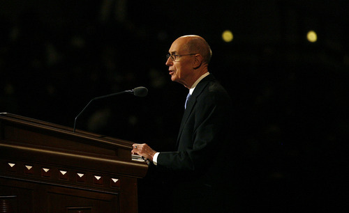 Scott Sommerdorf   |  The Salt Lake Tribune Henry B. Eyring speaks prior to the talk to end the morning session given by President Thomas S.Monson, on the second day of the 183rd LDS General Conference, Sunday, April 7, 2013.