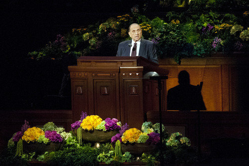 Chris Detrick  |  The Salt Lake Tribune LDS Church President Thomas S. Monson speaks during the morning session of the 183rd Semiannual General Conference of The Church of Jesus Christ of Latter-day Saints Saturday April 6, 2013. `