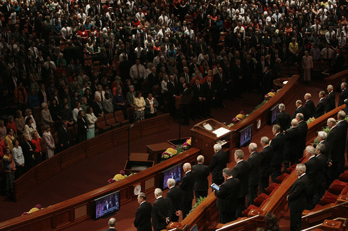 Scott Sommerdorf   |  The Salt Lake Tribune Church leaders stand during a hymn during the afternoon session of the second day of the 183rd LDS General Conference, Sunday, April 7, 2013.