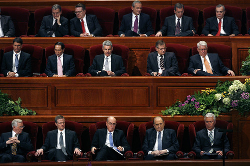 Scott Sommerdorf   |  The Salt Lake Tribune President Thomas S. Monson, second from right on the lowest level, sits with other members of the First Presidency as the Mormon Tabernacle Choir sings to open the afternoon session of the second day of the 183rd LDS General Conference, Sunday, April 7, 2013.
