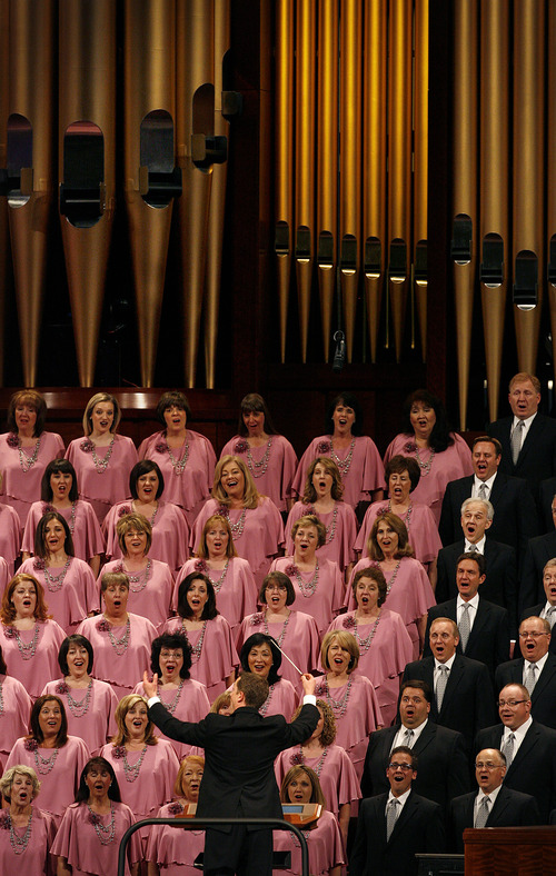 Scott Sommerdorf   |  The Salt Lake Tribune The Mormon Tabernacle Choir sings to open the afternoon session of the second day of the 183rd LDS General Conference, Sunday, April 7, 2013.