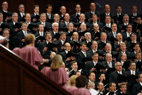Scott Sommerdorf   |  The Salt Lake Tribune The Mormon Taberbacle Choir sings at the opening of the afternoon session of the second day of the 183rd LDS General Conference, Sunday, April 7, 2013.