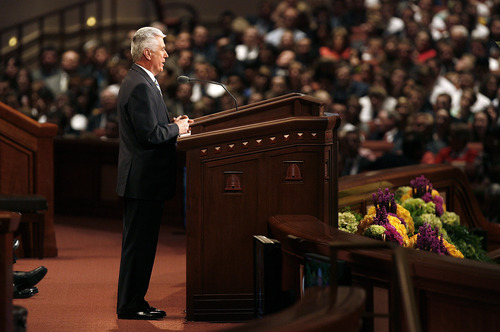 Scott Sommerdorf   |  The Salt Lake Tribune President Dieter F. Uchtdorf opens the afternoon session of the second day of the 183rd LDS General Conference, Sunday, April 7, 2013.
