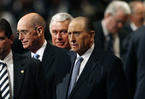 Scott Sommerdorf   |  The Salt Lake Tribune LDS President Thomas S. Monson surveys the audience after he spoke to close the morning session of the second day of the 183rd LDS General Conference, Sunday, April 7, 2013.