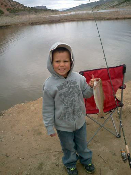 Andon Richards at Flaming Gorge with his first fish.