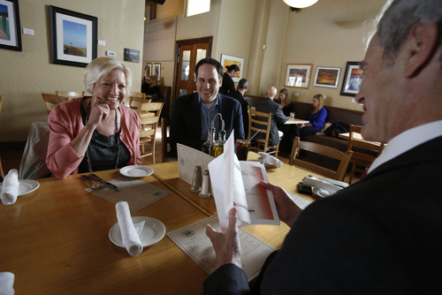 Francisco Kjolseth  |  The Salt Lake Tribune Barbara Breen, a Daybreak information officer relishes the chance to have lunch with Salt Lake City Mayor Ralph Becker after winning a lunch with the mayor during a recent silent auction charity event. Also joining in was Brian Davis, an adviser for communities for Kennecott.