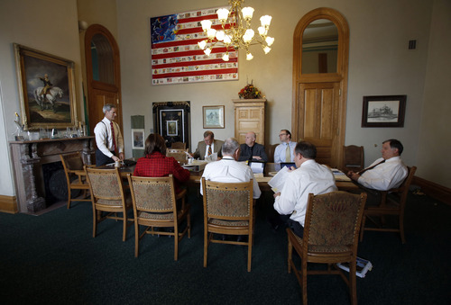 Francisco Kjolseth  |  The Salt Lake Tribune Salt Lake City Mayor Ralph Becker, far left, has an RDA meeting to talk about the upcoming budget at City Hall, where he has been in office for five years.