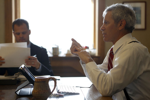 Francisco Kjolseth  |  The Salt Lake Tribune Salt Lake City Mayor Ralph Becker talks about the upcoming budget during an RDA meeting alongside his Chief of Staff David Everitt at City Hall, where he has been in office for five years.