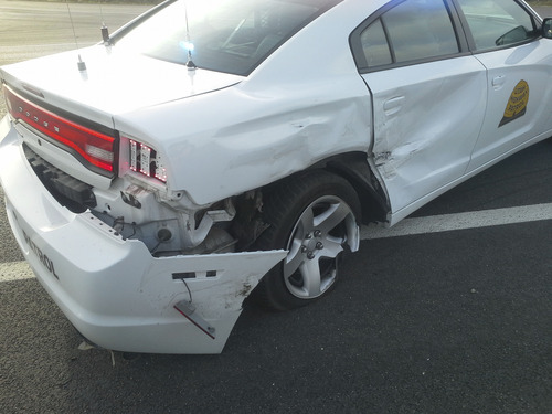 This Utah Highway Patrol car was hit Sunday by a vehicle that failed to yield at a stop sign near Nephi. Courtesy photo
