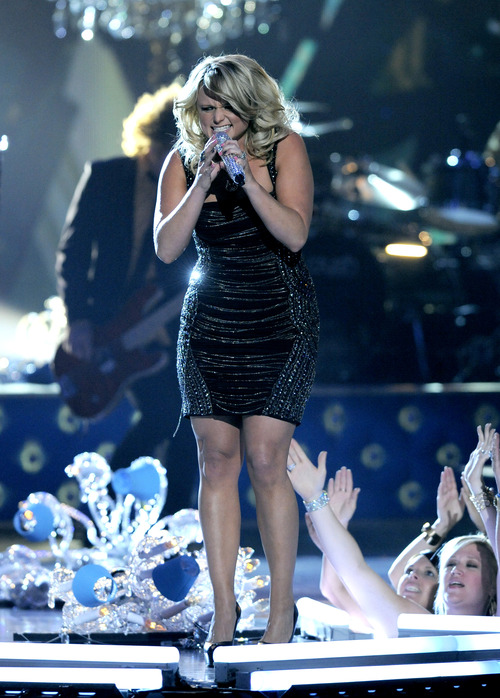 "Miranda Lambert performs ""Mama's Broken Heart"" at the 48th Annual Academy of Country Music Awards at the MGM Grand Garden Arena in Las Vegas on Sunday, April 7, 2013. (Photo by Chris Pizzello/Invision/AP)"