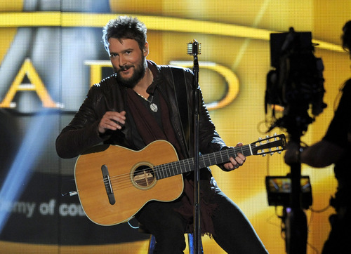 Singer Eric Church performs at the 48th Annual Academy of Country Music Awards at the MGM Grand Garden Arena in Las Vegas on Sunday, April 7, 2013. (Photo by Chris Pizzello/Invision/AP)