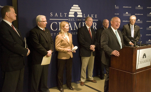 Paul Fraughton  |  The Salt Lake Tribune Salt Lake Chamber of Commerce President Lane Beattie, at the podium, is joined by six other chamber of commerce executives from other Utah cities to voice their support for comprehensive immigration reform. From left is Jim Smith, president of The Davis County Chamber; Bill Malone of the Park City Chamber, Sandy Emile of The Cache Chamber, Dave Hardman of The Ogden/Weber Chamber, Stan Parrish of The Sandy Chamber and Val Hale of the Utah Valley Chamber.  Tuesday, April 9, 2013