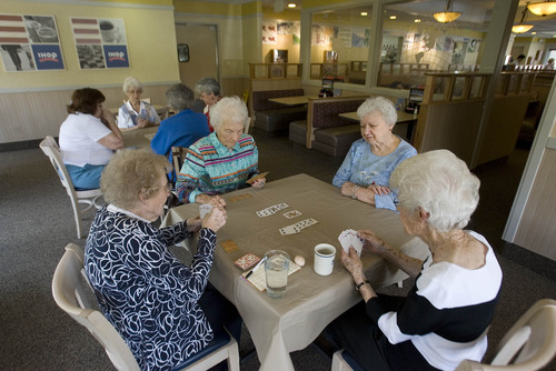 Paul Fraughton  |  The Salt Lake Tribune The eight ladies who play bridge at the I-Hop in Holladay are: front table left to right, Marion Palmer, Ethel Brewster MarJean North and Rae Lindquist. At the rear table, from left,Connie Adams, Lois Hollstein, Leah Hilton, and Gwen Leitch.  Tuesday, April 2, 2013