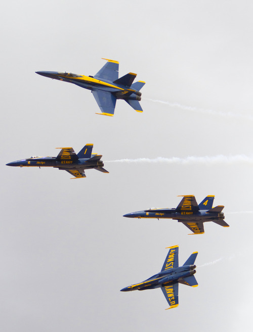 The U.S. Navy Blue Angels perform in inaugural Thunder Over Utah Air Show on Saturday, March 17, 2012 at the St. George Municipal Airport. Event organizers estimate 30,000 people attended opening day.  (AP Photo / The Spectrum,  Samantha Clemens)
