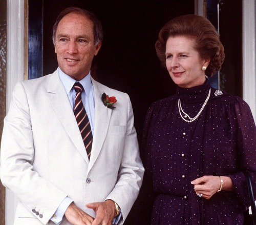 In this Oct. 4, 1981, file photo, British Prime Minister Margaret Thatcher is with Canada's Prime Minister Pierre Trudeau, in Australia. Thatcher's former spokesman, Tim Bell, said she died Monday morning, April 8, 2013, of a stroke.  She was 87. (AP Photo/The Canadian Press, Peter Bregg)