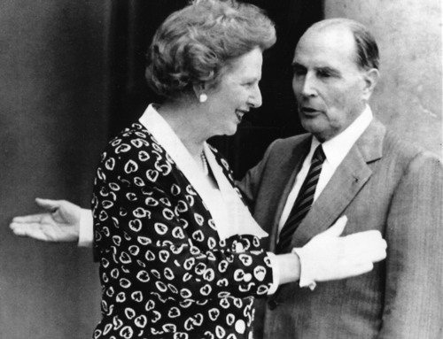 FILE - This is a  July 29, 1987, file photo of French President Francois Mitterrand and his guest British Prime Minister Margaret Thatcher as they gesture in front of the Elysee Palace in Paris, France. Thatcher's former spokesman, Tim Bell, said she died Monday, April 8, 2013  of a stroke. She was 87.  (AP Photo/File)