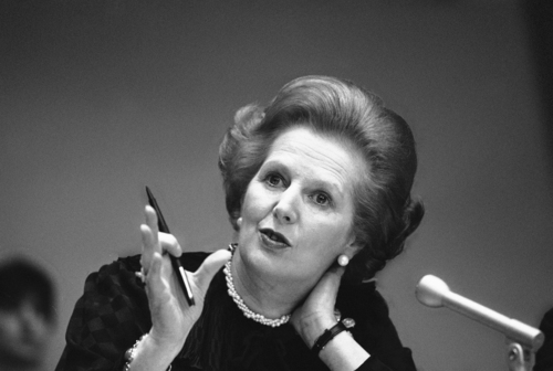 """FILE - In this June 23, 1982 file photo, Britain's Prime Minister Margaret Thatcher gestures with her pen as she answers a reporter's question during a news conference at the United Nations. Ex-spokesman Tim Bell says that Thatcher has died. She was 87. Bell said the woman known to friends and foes as """"the Iron Lady"""" passed away Monday morning, April 8, 2013. (AP Photo/File)"""