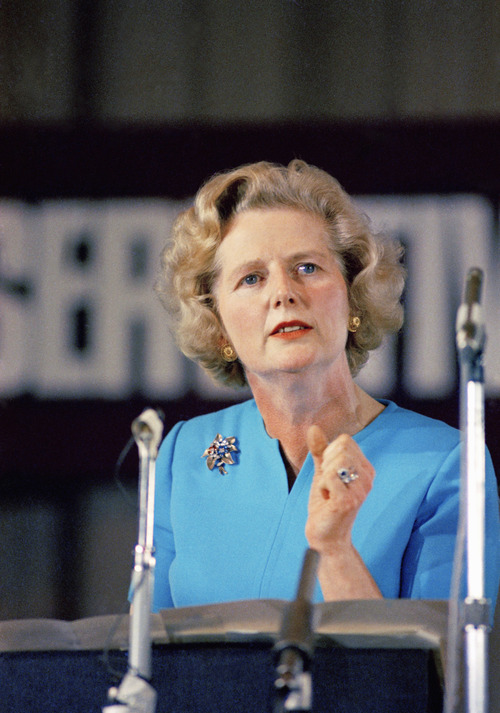 FILE - In a Feb. 10, 1975 file photo, Margaret Thatcher, leading conservative who won the first ballot for leadership which resulted in Edward Heath's resignation, speaks in London. Thatcher's former spokesman, Tim Bell, said that the former British prime minister died Monday morning, April 8, 2013, of a stroke. She was 87. (AP Photo, File)