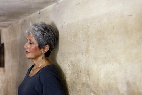 In this March 31, 2013 photo released by Metropole Hanoi, Joan Baez stands with her back to the wall of an historic bomb shelter under the Metropole Hotel in Hanoi, Vietnam. The folk singer and social activist spent a few days recently reliving her past, returning to Hanoi for the first time since December 1972, when American B-52s were raining bombs on it.  (AP Photo/Metropole Hanoi) EDITORIAL USE ONLY