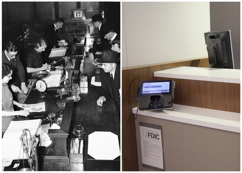 "This combination of Associated Press file photos show women bank cashiers working in a London branch of the Midland Bank on July 23, 1940, left, and a  JPMorgan Chase lobby in New York in March 2013. JPMorgan Chase executives  are touting what they call their ""Branch of the Future,"" a place where ATMs distribute exact change, machines count cash so tellers don't have to. (AP Photo/File)"