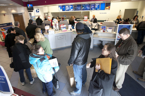 Steve Griffin | The Salt Lake Tribune The Salt Lake Main Post Office at 1760 W. 2100 South will be open until 8:15 p.m.