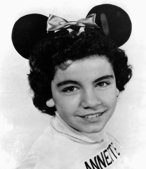 """FILE - This 1955 file photo provided by Walt Disney Co., shows Annette Funicello, a """"Mouseketeer"""" on Walt Disney's TV series the """"Mickey Mouse Club."""" Walt Disney Co. says, Monday, April 8, 2013, that Funicello, also known for her beach movies with Frankie Avalon, has died at age 70. (AP Photo/Walt Disney Co., File)"""
