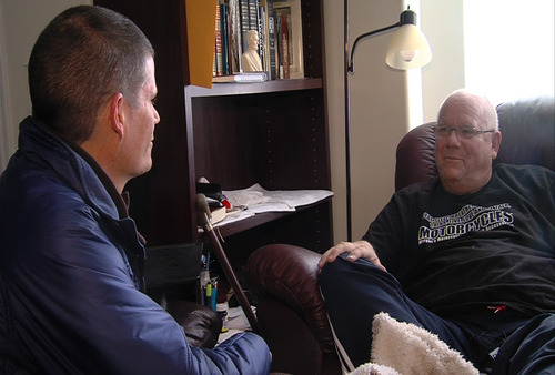 Courtesy KUTV Buzz Nielsen, right, former chief of West Valley City Police Department, being interviewed by reporter Chris Jones at his home