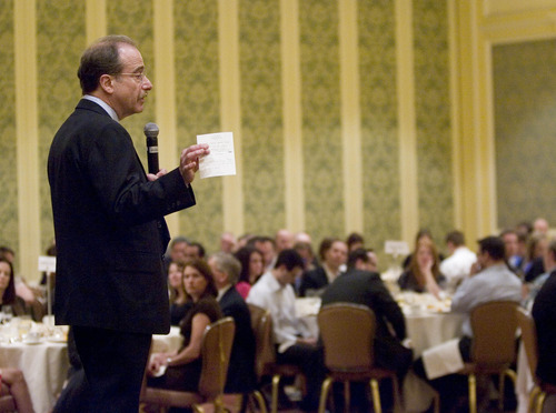 Paul Fraughton  |  The Salt Lake Tribune Forbes Magazine Managing Editor Tom Post speaks at The Utah  Technology Council event at The Grand America Hotel in Salt Lake City.  Friday, April 12, 2013