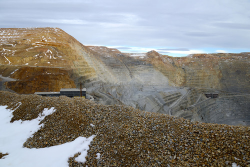 Photo taken by Rio Tinto-Kennecott Copper of the  open pit Bingham Canyon Mine before the landslide.