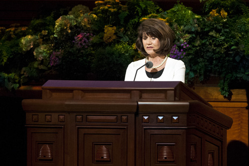 Chris Detrick  |  The Salt Lake Tribune Jean A. Stevens prays during the morning session of the 183rd Annual General Conference of The Church of Jesus Christ of Latter-day Saints Saturday April 6, 2013. For the first time ever, a Mormon woman offered a public prayer in the LDS Church's General Conference before millions of viewers. Stevens is the first counselor in the LDS Church's Primary presidency, which oversees instruction of children under age 12 in the worldwide faith.