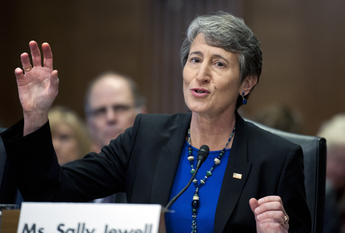 Sally Jewell, shown here testifying in March in the Senate Energy and Natural Resources Committee hearing on her nomination. Sen. Mike Lee, R-Utah, was one of 11 who opposed her nomination. Sen. Orrin Hatch, R-Utah, was among 87 senators who voted in favor of Jewell's appointment.  (AP Photo/Cliff Owen)