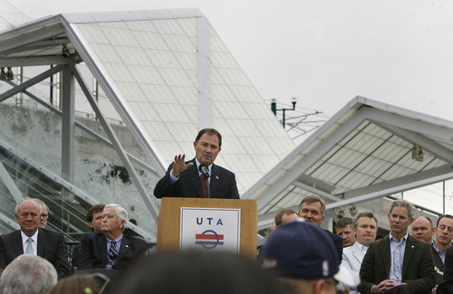 Scott Sommerdorf      The Salt Lake Tribune Utah Governor Gary Herbert speaks at the Grand Opening Ceremony at  North Temple Bridge Station, Saturday, April 13, 2013. The governor and members of Utah's congressional delegation joined with UTA and other local elected officials to kick-off the highly anticipated service to Salt Lake City International Airport.