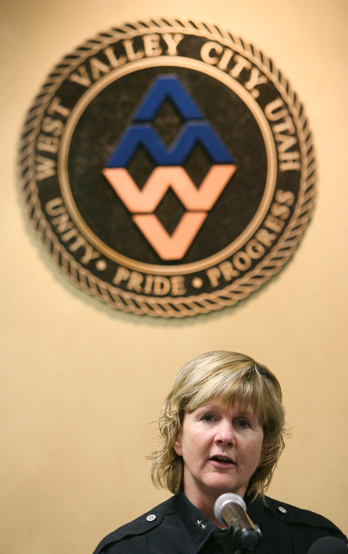 Steve Griffin   The Salt Lake Tribune   Acting police chief, Anita Schwemmer, announces that West Valley City Police Department is requesting an independent investigation by the Federal Bureau of Investigation during a press conference at police headquarters in West Valley City, Utah Wednesday April 3, 2013. The investigation will look into corruption within the department's narcotics unit and a possible cover-up involving the Danielle Willard officer involved shooting.