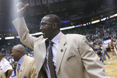 Chris Detrick     The Salt Lake Tribune Utah Jazz head coach Tyrone Corbin after the game at EnergySolutions Arena Friday April 12, 2013. The Jazz won the game 107-100.