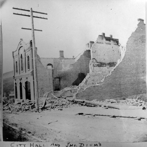 (Salt Lake Tribune Archive)  Remains of City Hall after the 1898 fire.