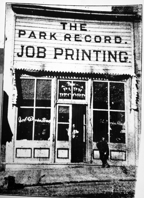 (Salt Lake Tribune Archive)  The Park Record office and printing press before the devastating fire of 1898 that left much of Park City in ruins.