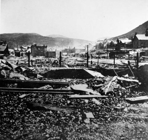 (Salt Lake Tribune Archive)  Main Street in Park City following a devastating fire in 1898.