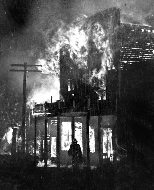 (Salt Lake Tribune Archive)  Park City's great fire started at American House hotel at 4 a.m., June 19, 1898. In minutes the hotel was completely engulfed and the devastating fire spread quickly.