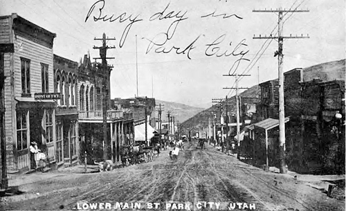 (Salt Lake Tribune Archive) Lower Main Street in Park City showing shoppers out and about. Prior to the 1898 fire.
