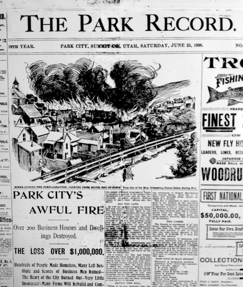 (Salt Lake Tribune Archive)  Front page of The Park Record June 25, 1898. The Park Record building and all of its archives went up in flames during the fire of 1898, but it didn't miss publishing a single issue. At one point The Park Record was operating out of a borrowed tent.