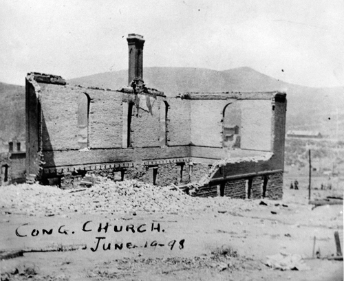 (Salt Lake Tribune Archive)  The Congregational Church in Park City in ruins following the fire of 1898.